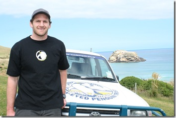 Kieran Read visiting a yellow-eyed penguin reserve on Otago Peninsula
