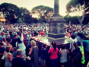 Crowds gather at an ANZAC Day dawn service at Darwin, the capital city of the Northern Territory in Australia.