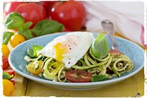 Pesto Zucchini Pasta with Eggs