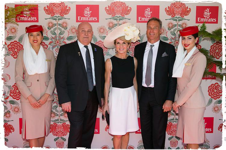 Barry Brown, The Hon. Julie Bishop MP, David Panton with the Emirates Crew at the Emirates Marquee, Derby Day 2016